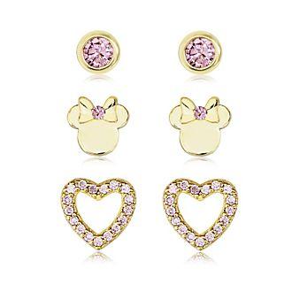 Minni, 3 paia di orecchini rosa placcati oro