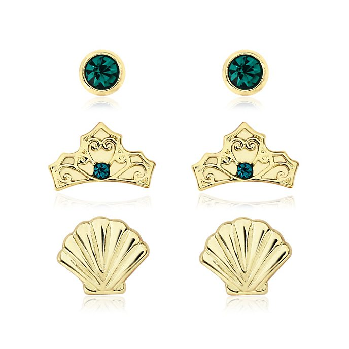 The Little Mermaid Gold-Plated Earrings, Set of 3