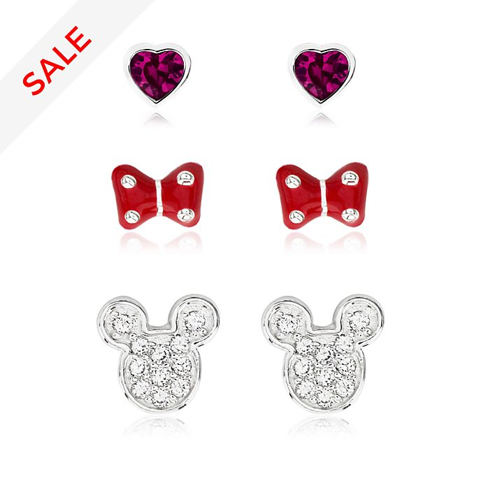 Mickey and Minnie Silver-Plated Earrings, Set of 3