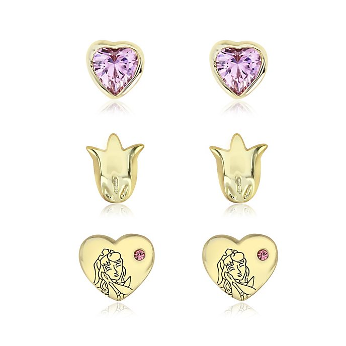 Sleeping Beauty Gold-Plated Earrings, Set of 3