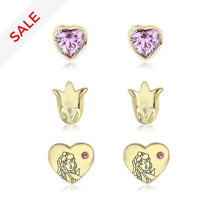 Sleeping Beauty Gold-Plated Earrings, Set of 3