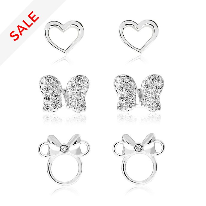 Minnie Mouse Silver-Plated Earrings, Set of 3