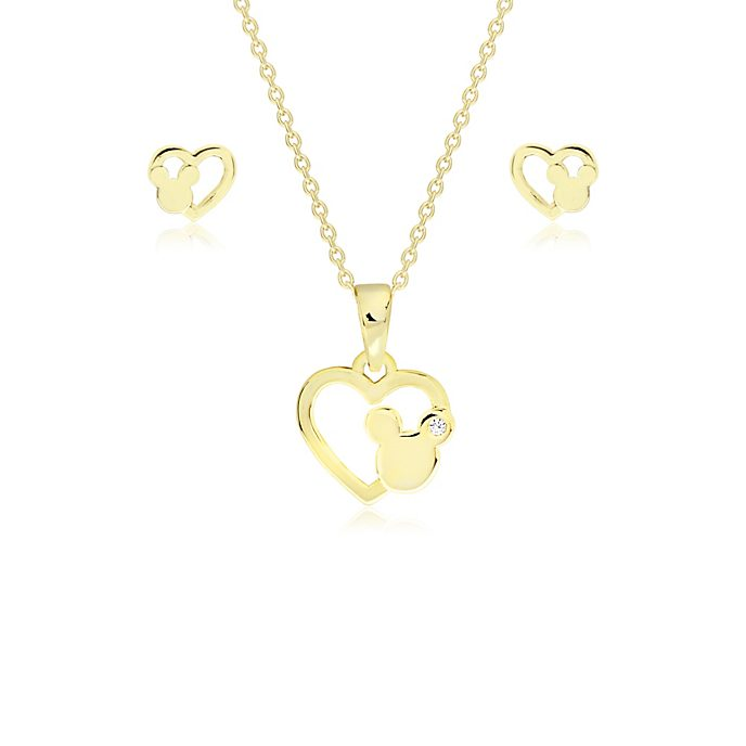 Mickey Mouse Gold-Plated Pendant and Earrings Set