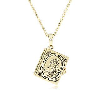 Medallón bañado en oro libro Bella, La Bella y la Bestia