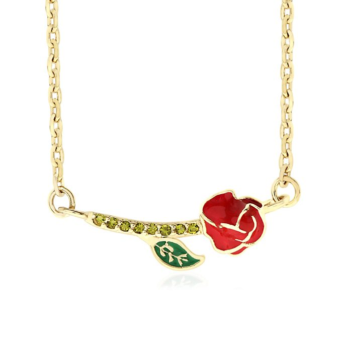 Verzauberte Rose - Vergoldete Halskette - Die Schöne und das Biest