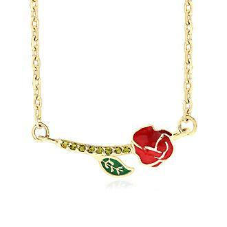 Collier Rose enchantée plaqué or, La Belle et la Bête