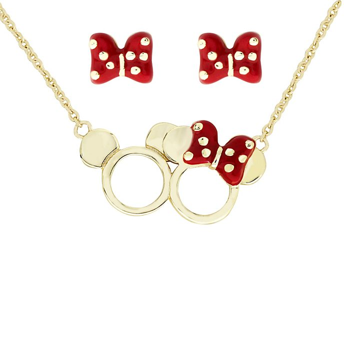 Mickey and Minnie Gold-Plated Pendant and Earrings Set