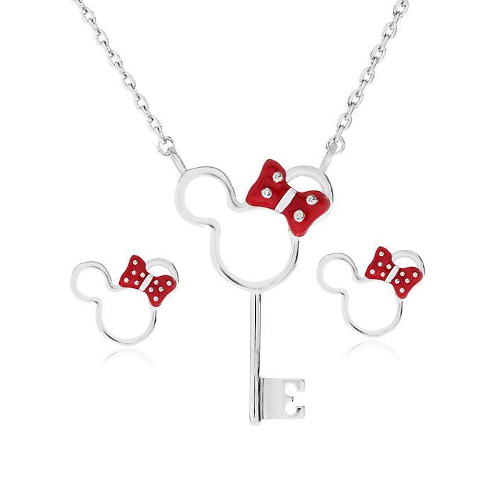 Minnie Maus - Versilbertes Set aus Schlüssel-Halskette und -Ohrringen