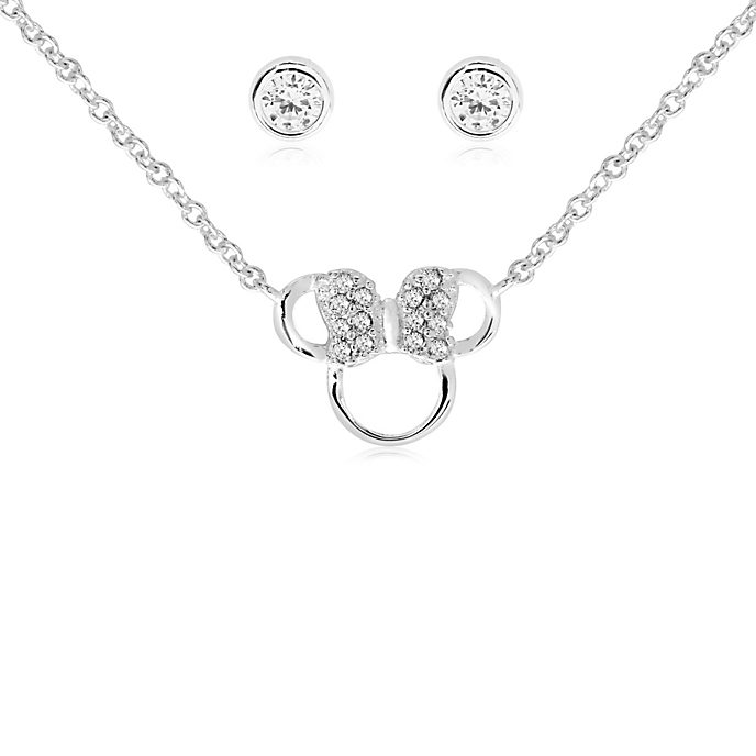 Minnie Mouse Icon Silver-Plated Pendant and Earrings Set