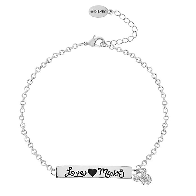 Pulsera con inscripción bañada en plata amor, Mickey