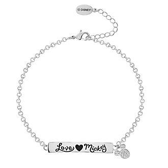 Bracelet citation ''Love Mickey'' plaqué argent