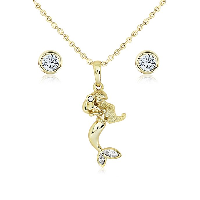The Little Mermaid Gold-Plated Pendant and Earrings Set