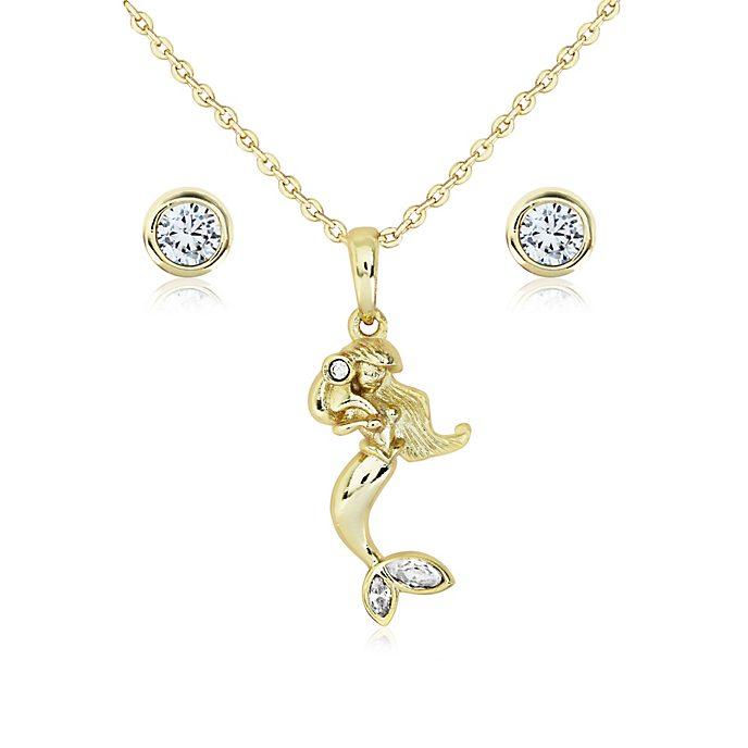 Arielle, die Meerjungfrau - Vergoldetes Set aus Anhänger und Ohrringen