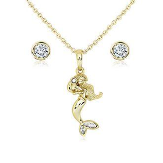 Collier et boucles d'oreilles La Petite Sirène plaqués or