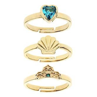 The Little Mermaid Gold-Plated Rings, Set of 3
