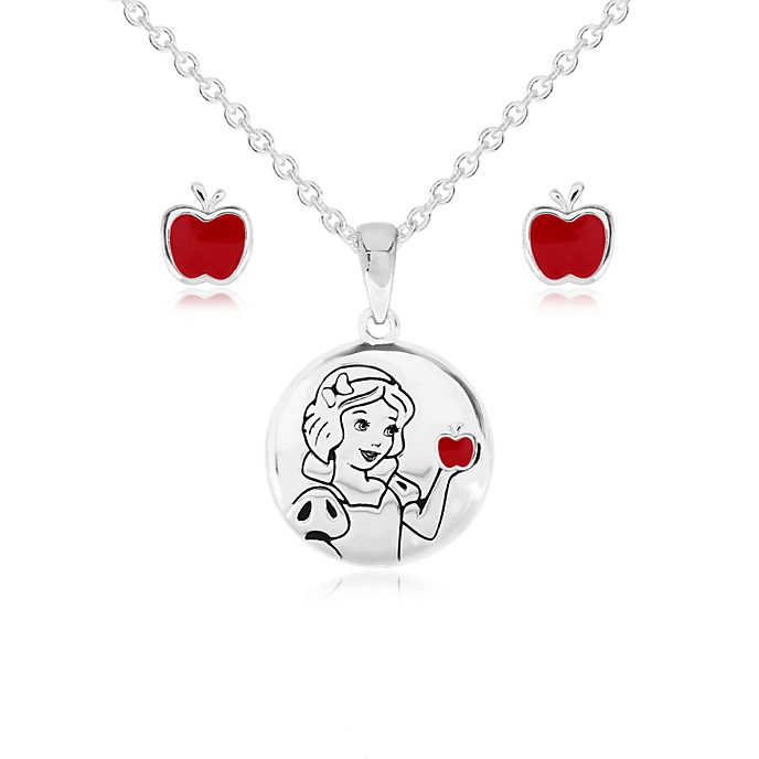 Snow White Silver-Plated Pendant and Earrings Set