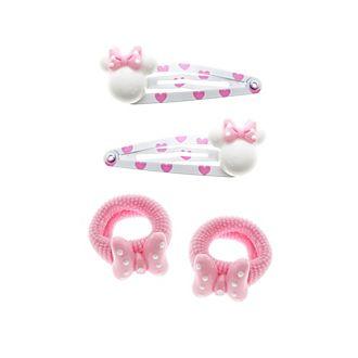 Minnie Maus - Haarspangen und Haargummis, gemischter 4er-Pack