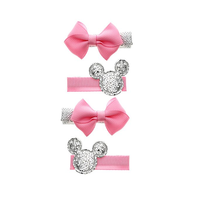 Lot de 4 barrettes à noeud Minnie Mouse