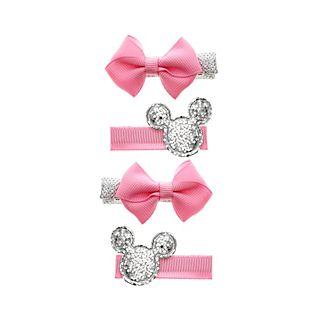 Lot de 4barrettes à noeud Minnie Mouse