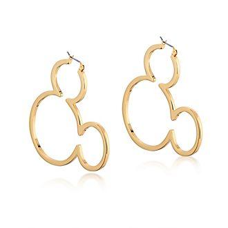 Pendientes de aro chapados en oro Mickey Mouse, Couture Kingdom