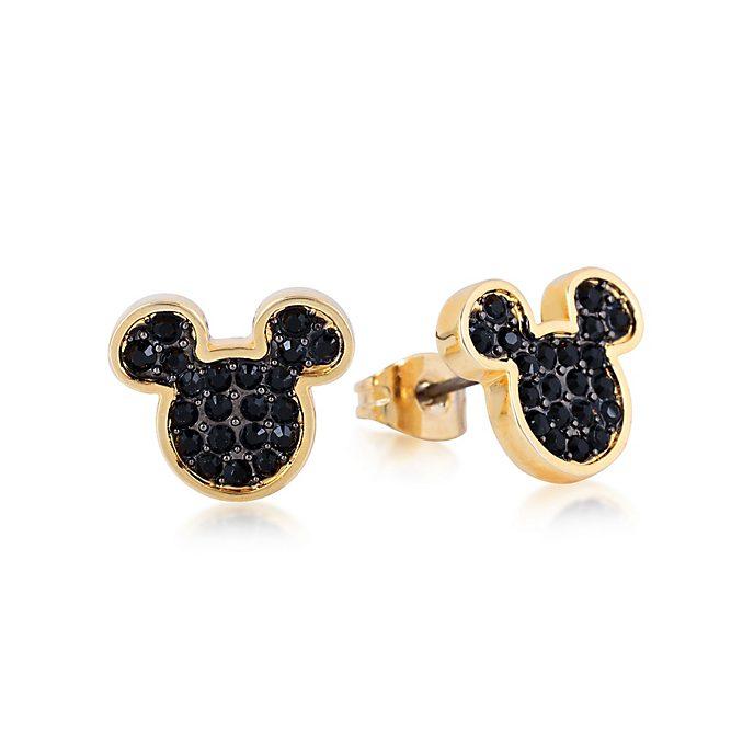 Pendientes de botón de cristal bañados en oro Mickey Mouse, Couture Kingdom