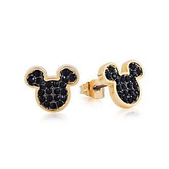 a7324c8b4c9d Pendientes de botón de cristal bañados en oro Mickey Mouse