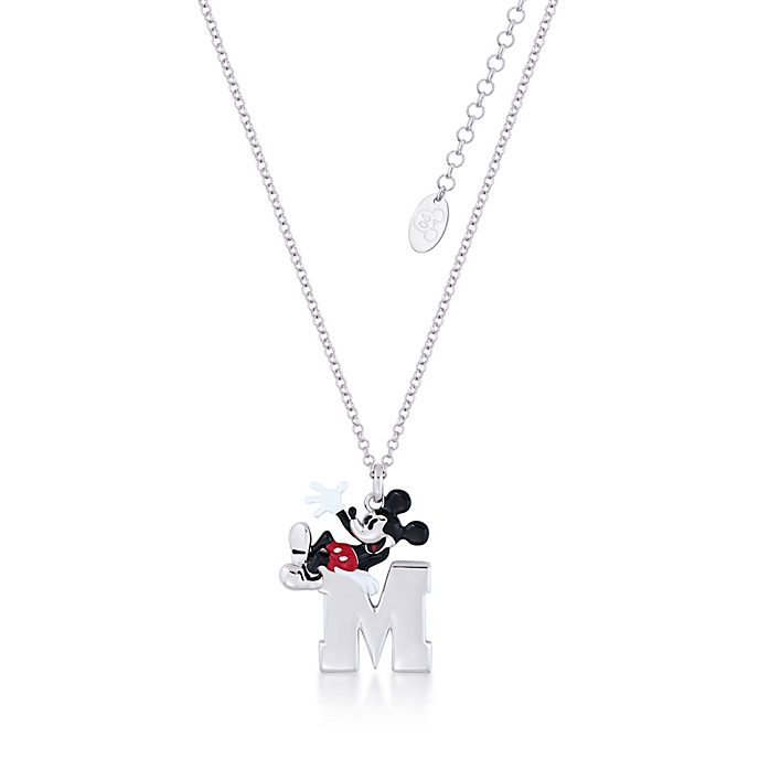 Collar con colgante bañado en oro blanco Mickey Mouse, Couture Kingdom