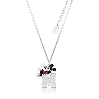 Collar con colgante bañado en oro blanco Mickey Mouse, Couture Kingdom