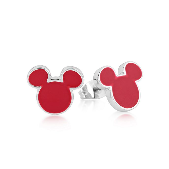 Pendientes de botón bañados en oro blanco Mickey Mouse, Couture Kingdom