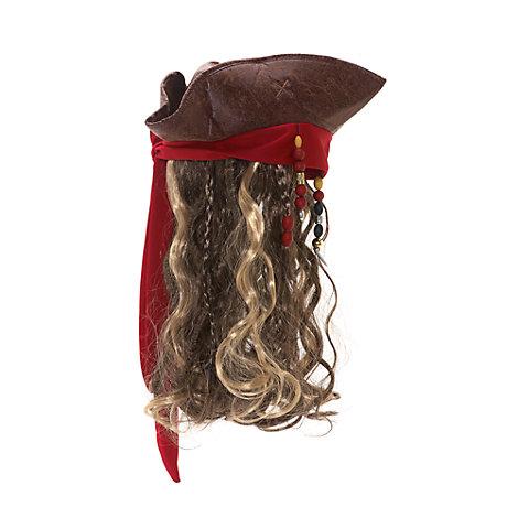 Sombrero y peluca para disfraz de adulto de Jack Sparrow, de Piratas del Caribe: La Venganza de Salazar