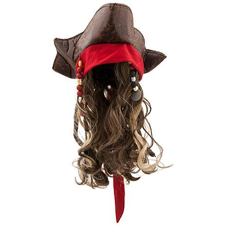 Sombrero y peluca para disfraz infantil de Jack Sparrow, de Piratas del Caribe: La Venganza de Salazar