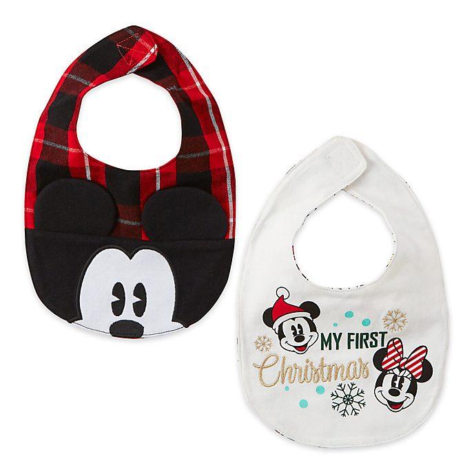 Disney Store Lot de 2bavoirs Mickey et ses Amis pour bébés, Holiday Cheer