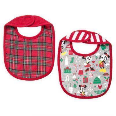 Bavaglini baby collezione natalizia Topolino e Minni, confezione da 2