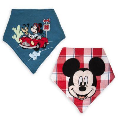 Baberos tipo pañuelo de Mickey Mouse, paquete de 2