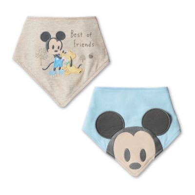 Lot de 2bavoirs bandana Mickey Mouse