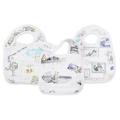 Winnie The Pooh Aden and Anais Baby Snap Bibs, Set of 3