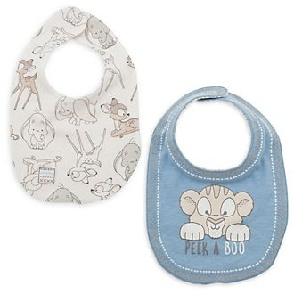 Disney Store Dumbo, Bambi and Simba Baby Bibs, 2 pack