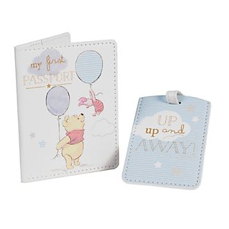 Winnie Puuh - Blaue Ausweishülle und Gepäckanhänger für Babys