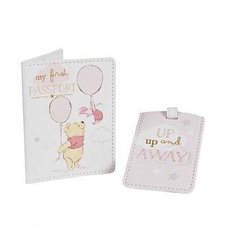 Porte-adresse et porte-passeport Winnie l'Ourson roses pour bébés