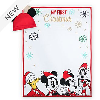 Disney Store Mickey and Friends Holiday Cheer Baby Blanket and Hat Photo Set
