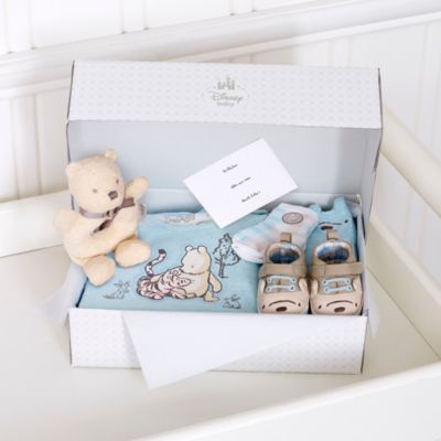 Winnie the Pooh Layette Blue Personalised Baby Gift Set