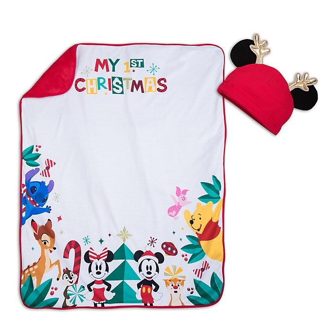 a04bce252409 Disney Store Mickey and Friends Christmas Baby Blanket and Hat Photo Set