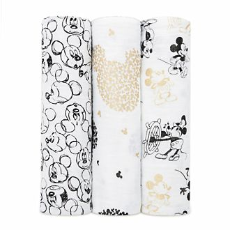 Aden and Anais Mickey Mouse Baby Swaddles, Set of 3