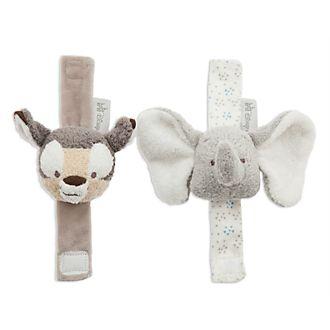 Lot de 2hochets pour poignet Dumbo et Bambi pour bébé, Disney Store