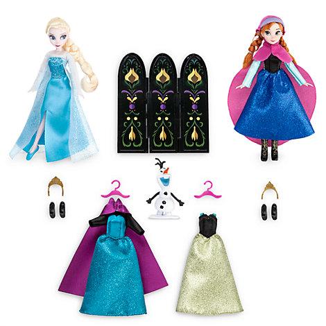 Set de vestidos con muñecas Elsa y Anna, Frozen