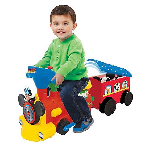 Micky Maus - Set mit Zug zum Aufsitzen und Schienen