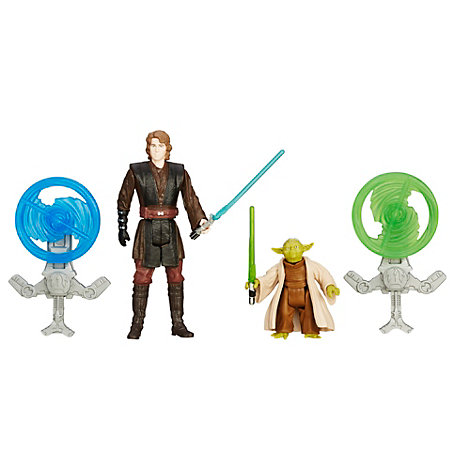 Pack de 2 figurines 9,5 cm Star Wars : La Revanche des Sith Anakin Skywalker et Yoda Mission Forêt