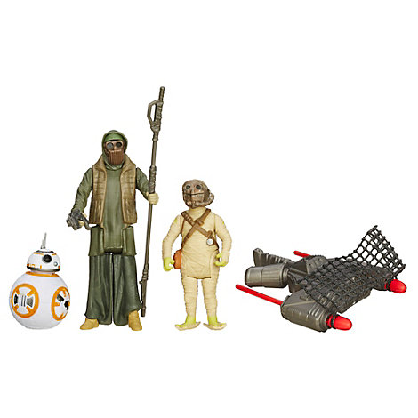 Pack de tres figuras BB-8, Jakku Scavenger y Unkar's Thug misión desierto, Star Wars VII: El despertar de la Fuerza (9,5 cm)