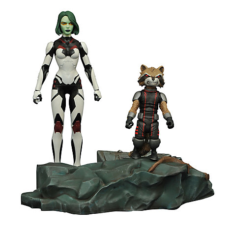Muñecos de acción de Gamora y Rocket Raccoon con bases interconectables de Guardianes de la Galaxia, de la colección Marvel Select