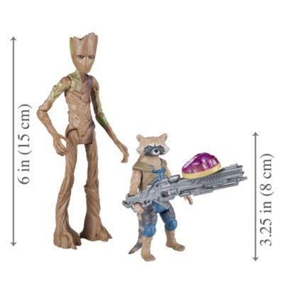 Muñecos acción Rocket y Groot (15cm)